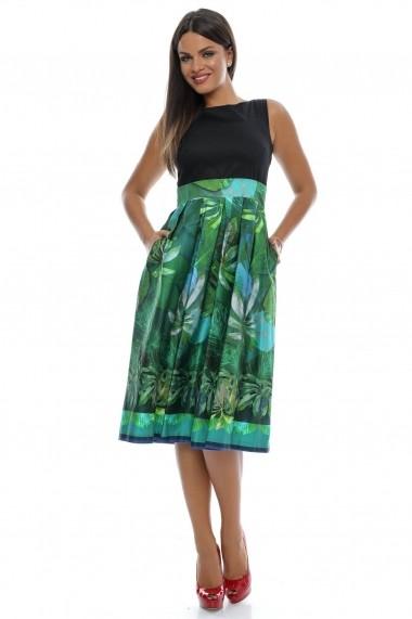 Rochie Roh Boutique midi, tropicala - DR2559 negru|verde