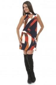 Rochie Roh Boutique cu guler inalt - DR2584 multicolora