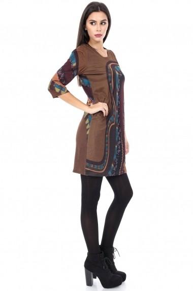 Rochie de zi Roh Boutique multicoloraa - DR2621 maro