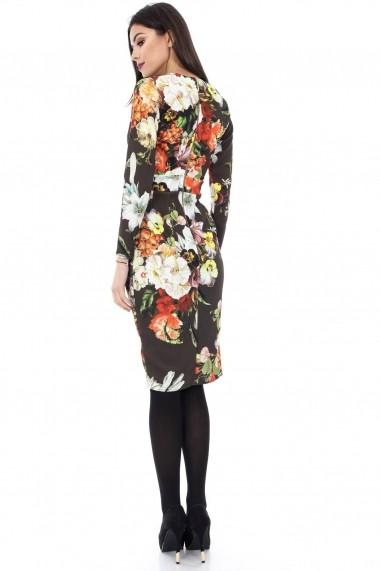 Rochie de zi Roh Boutique florala - DR2713 neagra