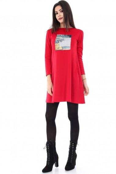 Rochie de zi Roh Boutique rosie cu imprimeu - DR2731 rosu
