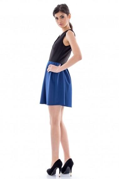 Rochie de zi Roh Boutique in doua culori - CLD068 neagra cu albastru