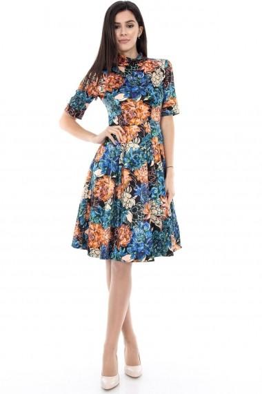 Rochie de zi Roh Boutique multicolora cu guler - DR2739 multicolor