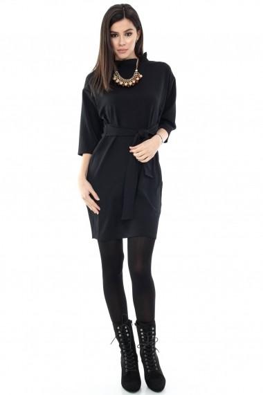 Rochie de zi Roh Boutique neagra cu guler inalt - DR2738 negru