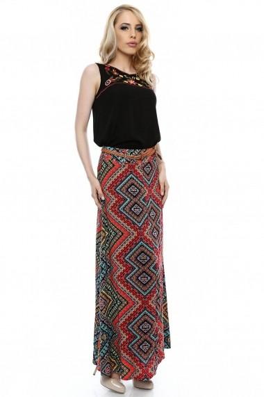 Fusta lunga  Roh Boutique maxi din vascoza - FR244 multicolor
