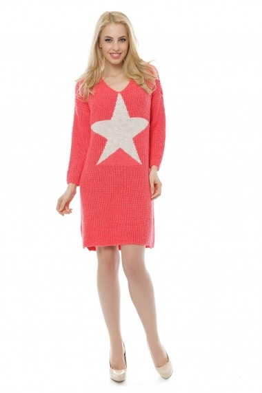 Rochie scurta Roh Boutique tricotata DR2769 corai