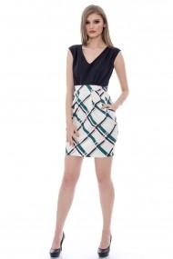 Rochie de zi Roh Boutique neagra in carouri - CLD150 neagra