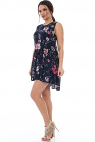 Rochie de zi Roh Boutique cu imprimeu floral - DR2787 bleumarin