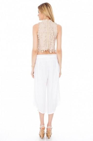 Pantaloni trei sferturi Roh Boutique BUFANTI, DIN IN - TR092-A alb