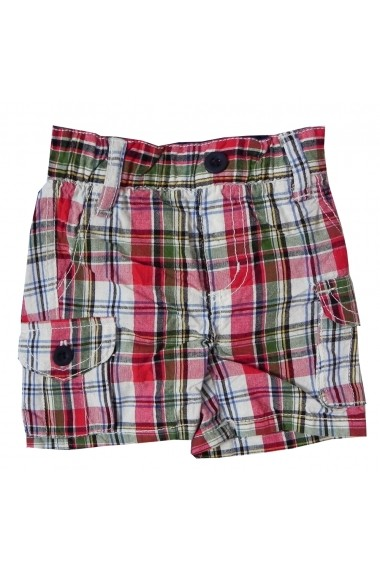 Pantaloni scurti Red Green Chekers pentru baieti Carodel MINI2620 rosu - els