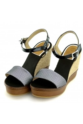 Sandale cu toc Vidorreta negre, din material sintetic, cu toc de 10 cm-stk - els