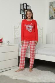 Pijama dama bumbac confortabila cu imprimeu Flower rosu