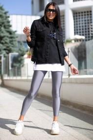 Colanti dama fitness lycra talie inalta elastici Gri metalic