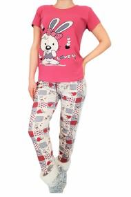 Pijama dama bumbac confortabila cu imprimeu Iepuras Roz lila