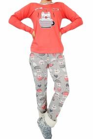Pijama dama bumbac confortabila cu imprimeu Pisicute mewo Corai