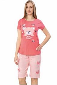 Pijama dama bumbac confortabila maneci scurte imprimeu Ursulet Corai