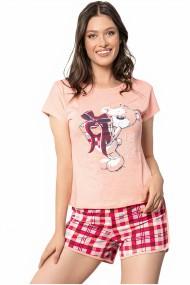Pijama dama bumbac confortabila maneci scurte imprimeu Ursulet cadou Roz somon
