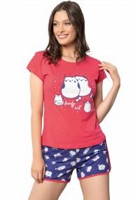 Pijama dama bumbac confortabila maneci scurte imprimeu Pisicute Rosu