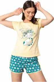 Pijama dama bumbac confortabila maneci scurte imprimeu Star Cat Galben