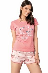 Pijama dama bumbac confortabila maneci scurte imprimeu Dream Roz