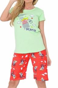 Pijama dama bumbac confortabila maneci scurte imprimeu Dream Verde