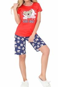 Pijama dama bumbac confortabila maneci scurte imprimeu Good night Rosu/Bleumarin