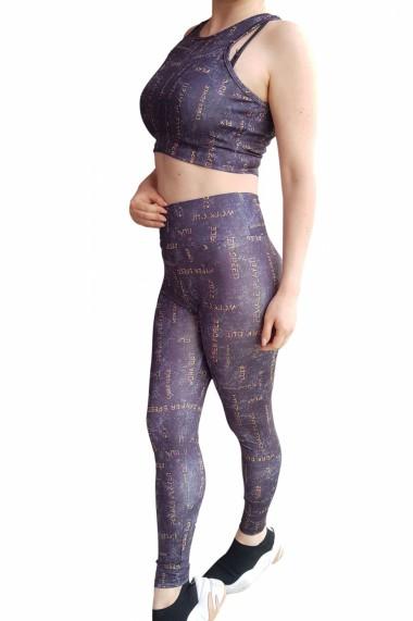 Compleu fitness dama 2 piese Embody fit modelator bustiera si pantalon Gri Platinium