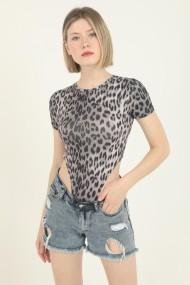 Body dama imprimeu Animal print-Leopard cu maneca scurta top elastic Gri