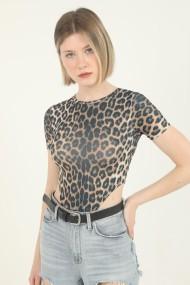 Body dama imprimeu Animal print-Leopard cu maneca scurta top elastic Maro