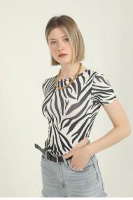 Body dama imprimeu Animal print-Zebra cu maneca scurta top elastic Alb/Negru