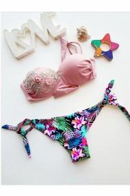 Costum de baie dama 2 piese sutien si slip brazilian reglabil imprimeu floral Roz pudra