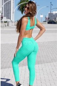 Colanti dama fitness modelatori cu push-up talie inalta Verde marin
