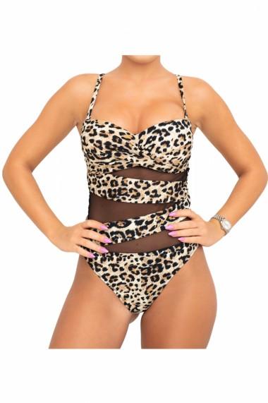 Costum de baie dama intreg imprimeu Animal print-Leopard cu snur reglabil Maro