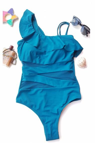 Costum de baie dama intreg Aqua Marin cu volan pe umar Verde smarald