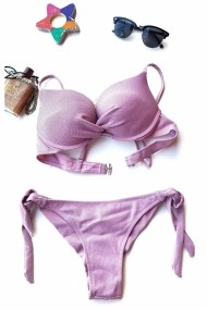 Costum de baie dama 2 piese Embody Basic sutien reglabil slip brazilian Roz pudra