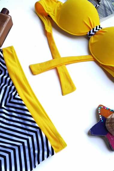 Costum de baie dama 2 piese Embody Brasil sutien reglabil cu snur slip talie inalta Galben