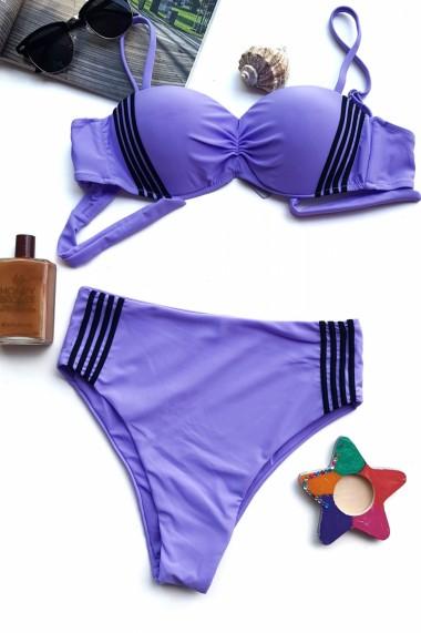 Costum de baie dama 2 piese Embody Miami sutien reglabil cu snur slip talie inalta Mov