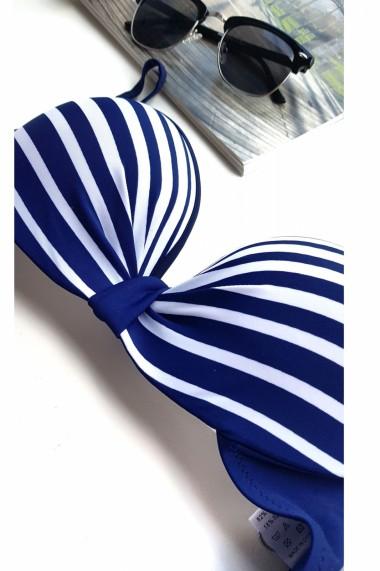 Costum de baie dama 2 piese cu dungi sutien reglabil slip talie inalta Embody Bluemarin