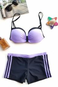 Costum de baie dama 2 piese cu dungi sutien reglabil slip boxeri Embody Negru/Mov