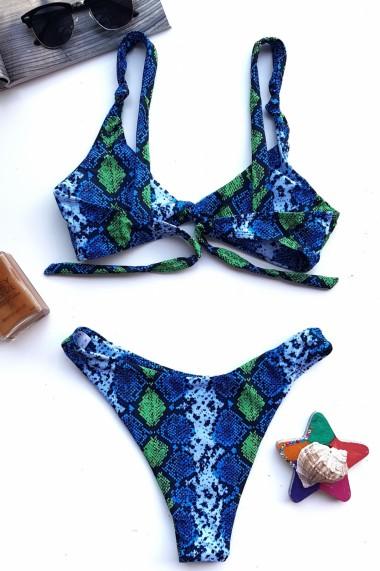 Costum de baie dama 2 piese sutien reglabil snur slip brazilian imprimeu Animal print-Crazy Snake Albastru