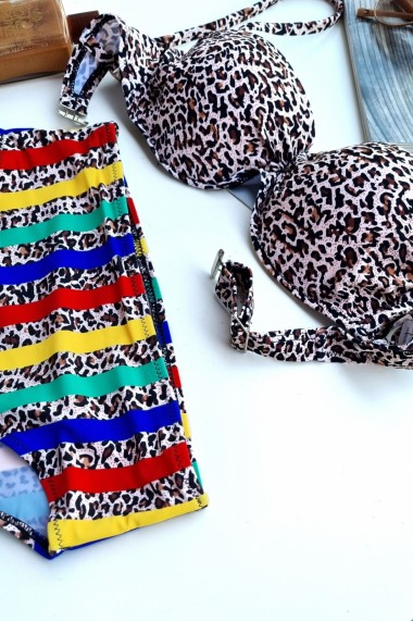Costum de baie dama 2 piese sutien reglabil snur cu push-up slip clasic imprimeu Animal print Maro