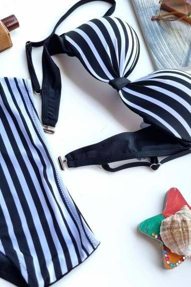 Costum de baie dama 2 piese cu dungi sutien reglabil cu push-up slip talie inalta Embody Negru