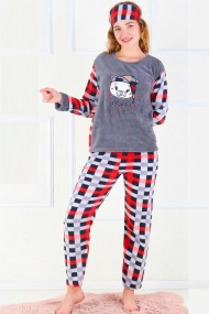 Pijama dama cocolino pufoasa cu imprimeu Animal print Leopard Maro - Copie