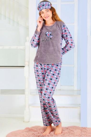 Pijama dama cocolino pufoasa cu imprimeu Love Gri