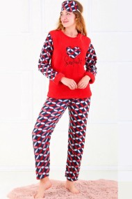 Pijama dama cocolino pufoasa cu imprimeu Sweet Rosu