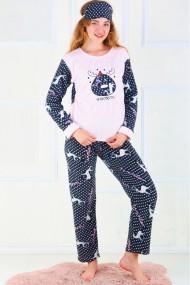 Pijama dama cocolino pufoasa cu imprimeu Winter Roz