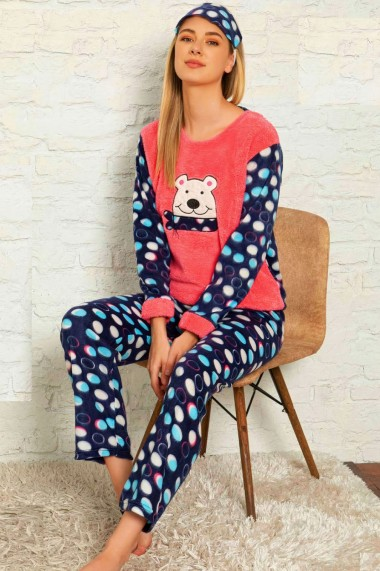 Pijama dama cocolino pufoasa cu imprimeu Urs polar Rosu