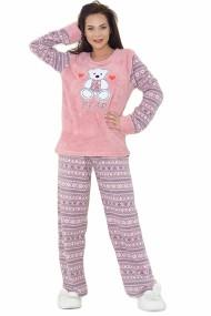 Pijama dama cocolino pufoasa cu imprimeu Ursulet roz inchis