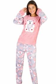 Pijama dama cocolino pufoasa cu imprimeu Ursulet-Love roz