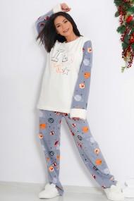 Pijama dama cocolino pufoasa cu imprimeu Love star Alb/Gri